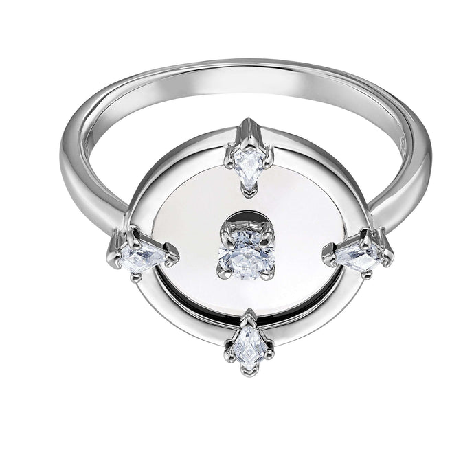 Swarovski North Motif Ring, White, Rhodium plated
