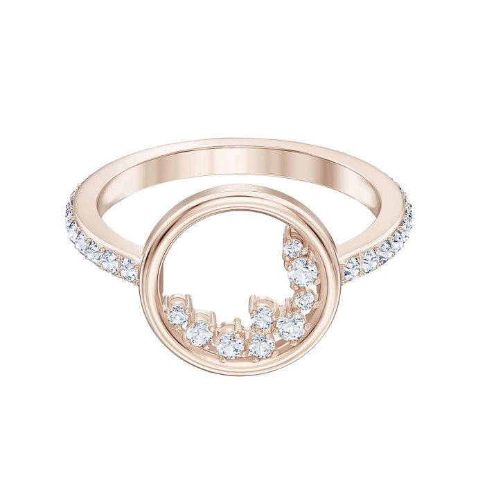Swarovski North Motif Ring, White, Rose-gold tone plated