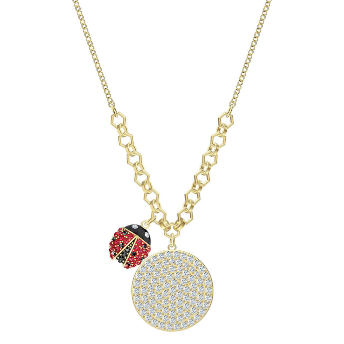 Swarovski Lisabel Coin Necklace, Multi-colored, Gold-tone plated