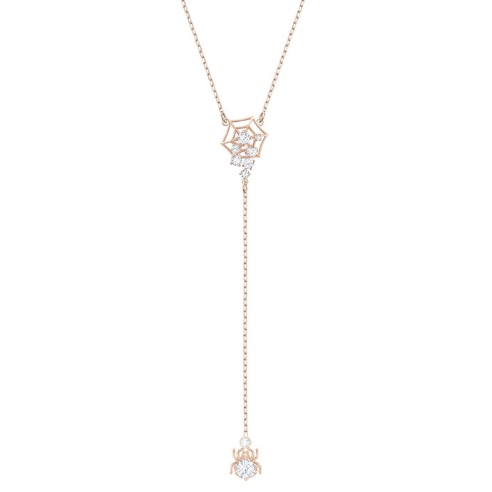 Swarovski Precisely Y Necklace, White, Rose-gold tone plated
