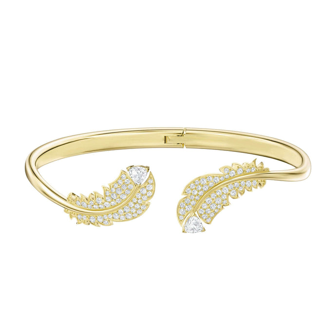 Swarovski Nice Bangle, White, Gold-tone plated
