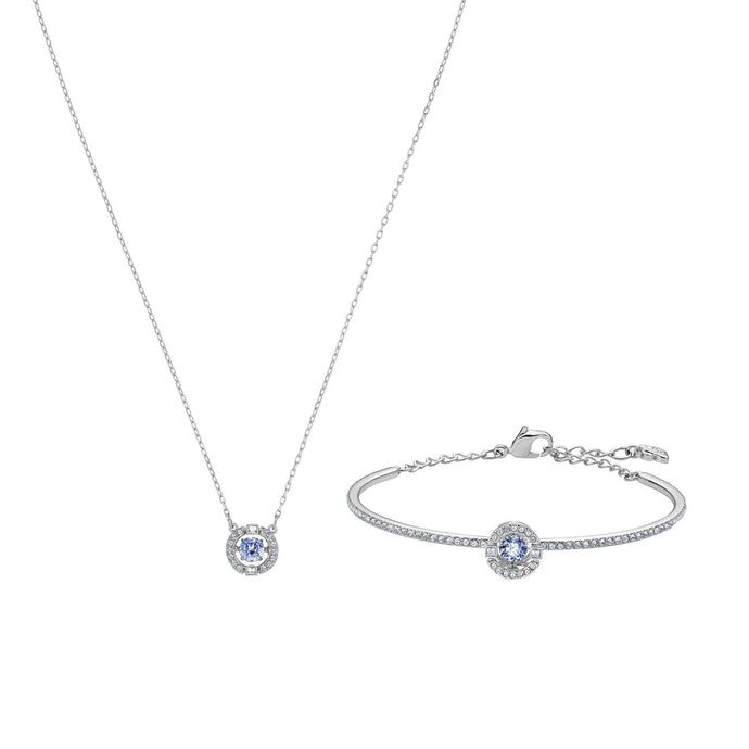 Swarovski Sparkling Dance Set, Blue, Rhodium plated