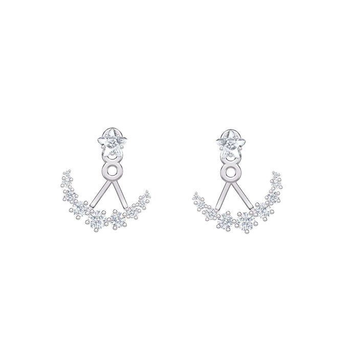 Swarovski Moonsun Pierced Earrings, White, Rhodium plated