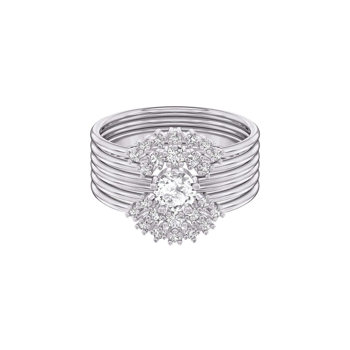 Swarovski Moonsun Ring Set, White, Rhodium plated