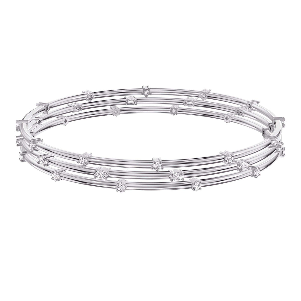 Moonsun Bangle, White, Rhodium plated