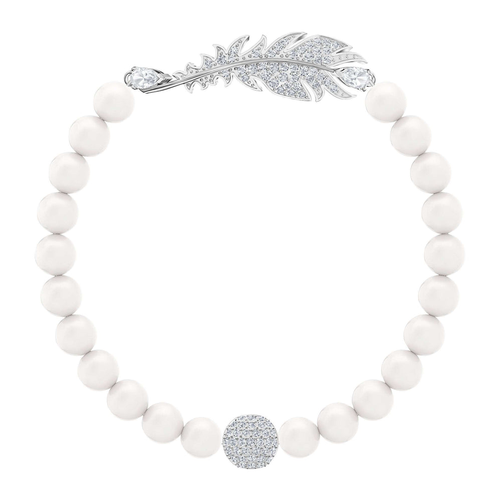 Nice Pearl Bracelet, White, Rhodium plated