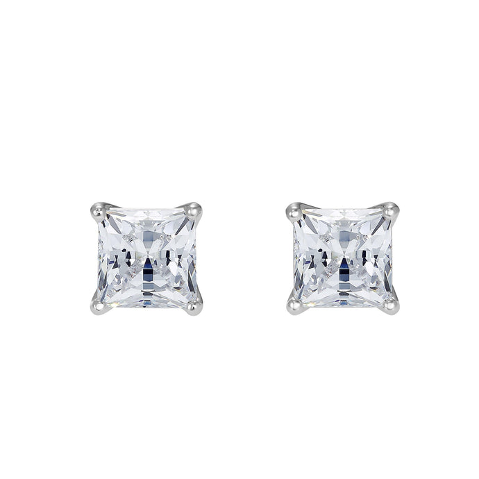 Swarovski Attract Pierced Earrings, White, Rhodium plated