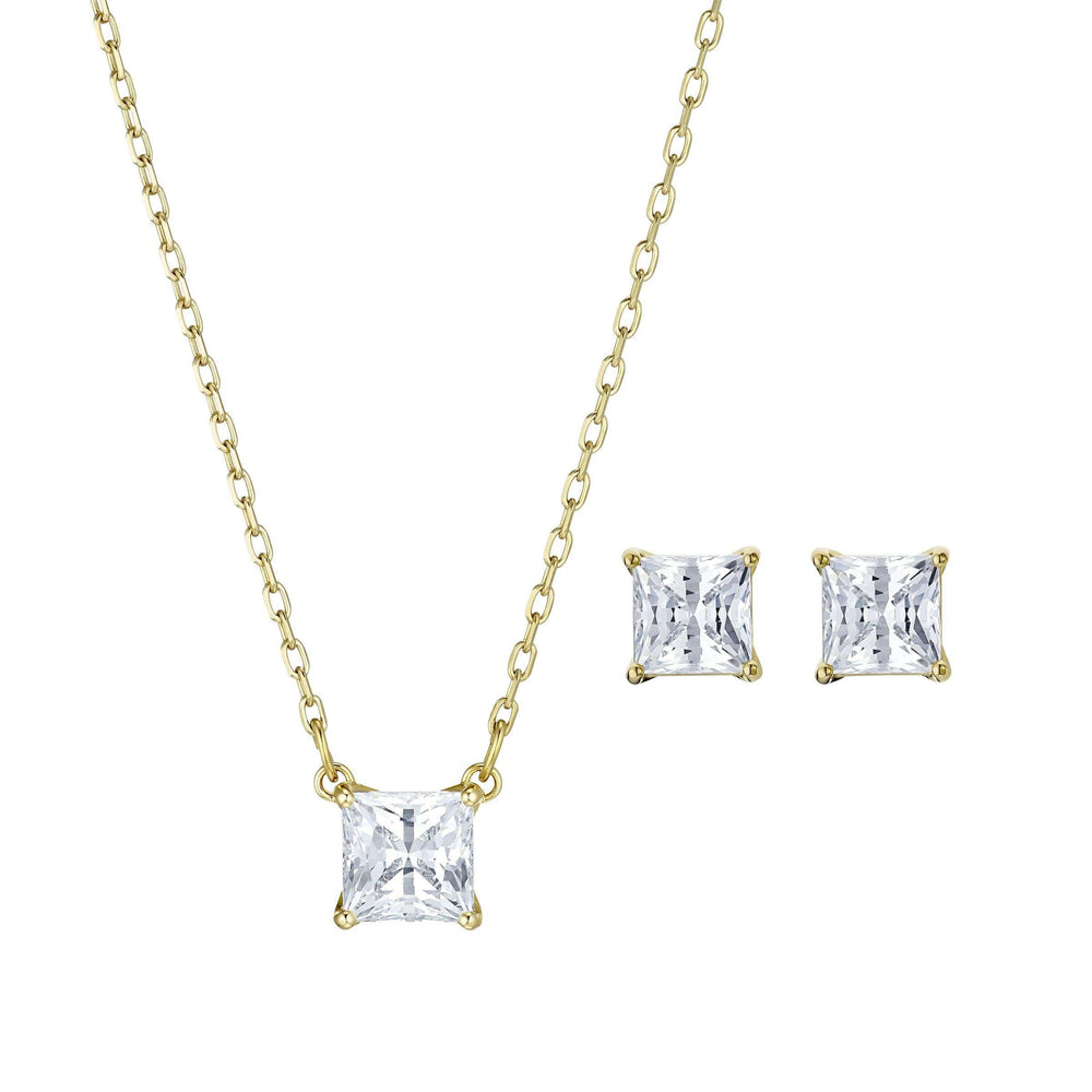 Swarovski Attract Set, White, Gold-tone plated