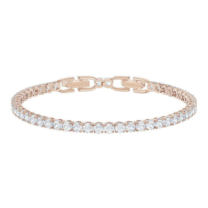 Swarovski Tennis Deluxe Bracelet, White, Rose-gold tone plated