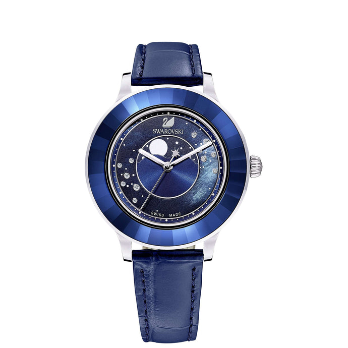 Swarovski Octea Lux Moon Watch, Leather Strap, Dark blue, Stainless steel