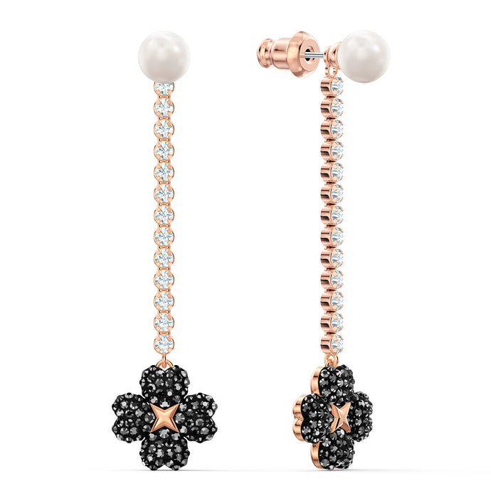 Latisha Pierced Earrings, Black, Rose-gold tone plated