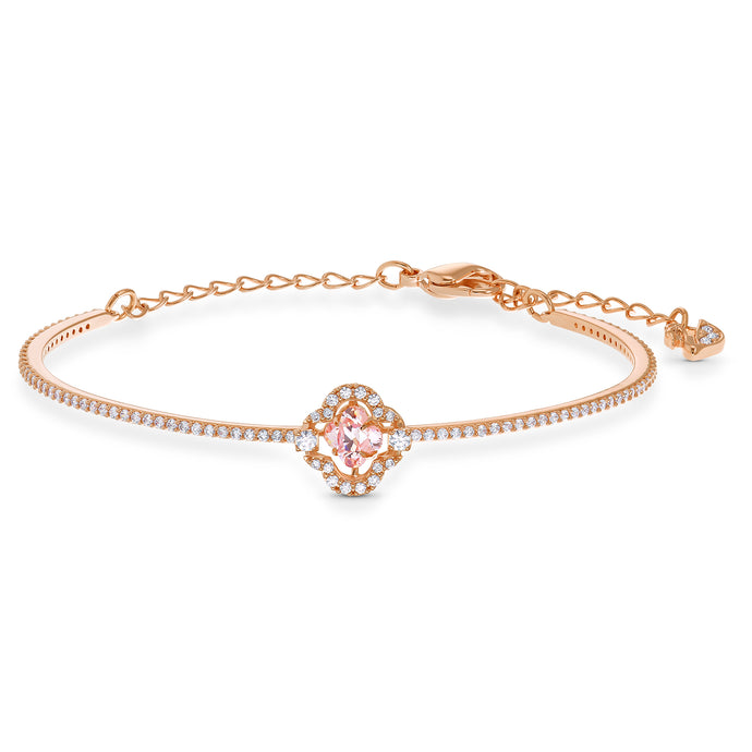 Swarovski Sparkling Dance Bangle, Pink, Rose-gold tone plated