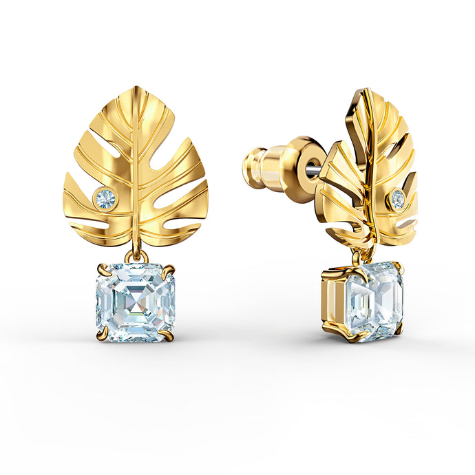 Tropical Leaf Pierced Earrings, White, Gold-tone plated