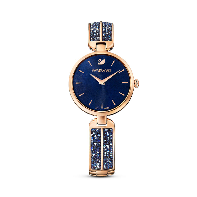 Dream Rock Watch, Metal Bracelet, Blue, Rose-gold tone PVD