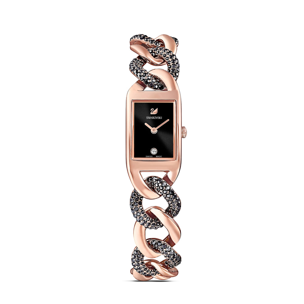 Cocktail Watch, Metal bracelet, Black, Rose-gold tone PVD
