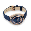 Load image into Gallery viewer, Crystalline Aura Watch, Leather strap, Blue, Rose-gold tone PVD