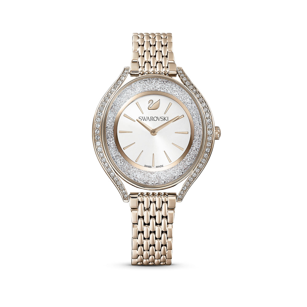Crystalline Aura Watch, Metal Bracelet, Gold tone, Champagne-gold tone PVD