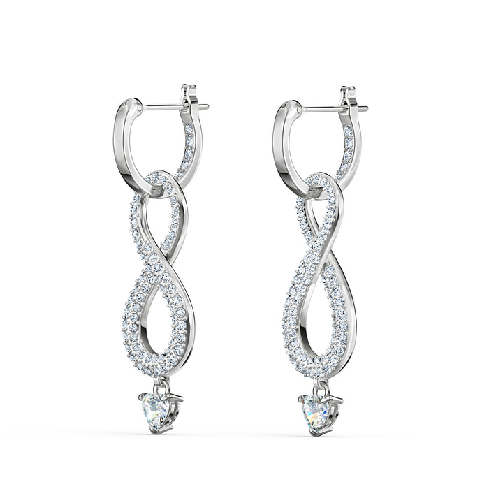 Swarovski Infinity Pierced Earrings, White, Rhodium plated