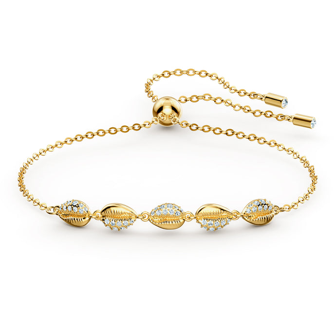 Shell Cowrie Bracelet, White, Gold-tone plated