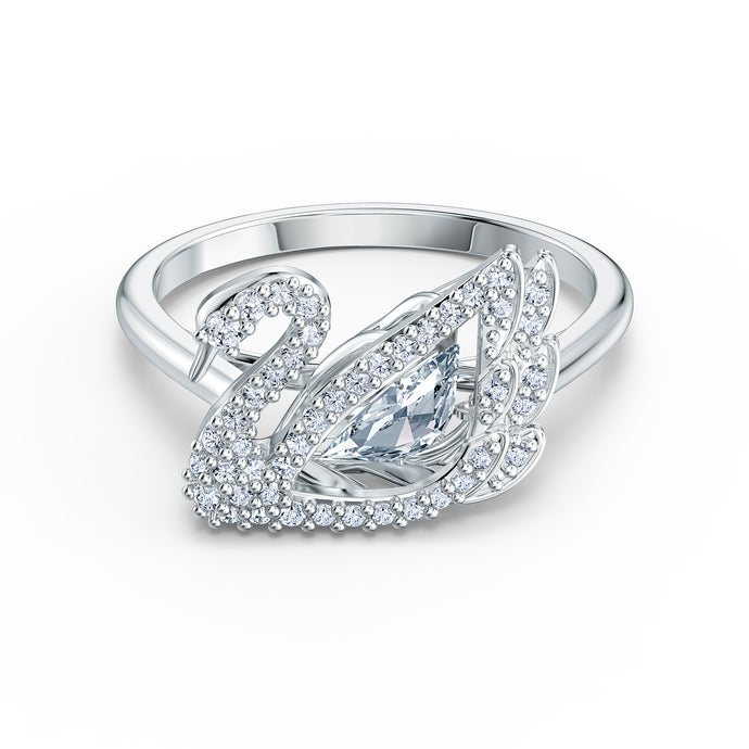 Dancing Swan Ring, White, Rhodium plated