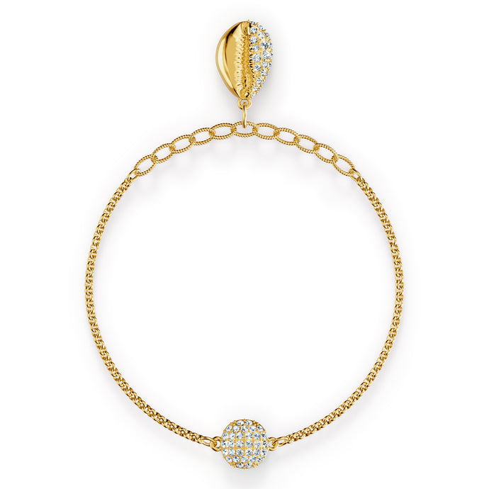 Swarovski Remix Collection Shell Strand, White, Gold-tone plated