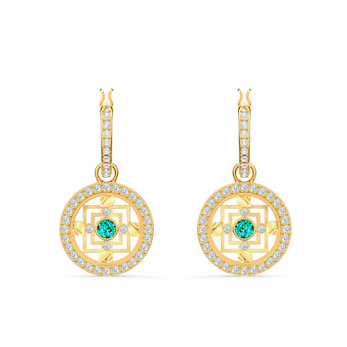 Swarovski Symbolic Mandala Hoop Pierced Earrings, Green, Gold-tone plated