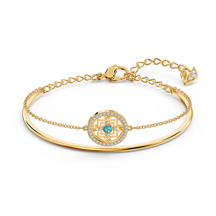 Swarovski Symbolic Mandala Bangle, Green, Gold-tone plated