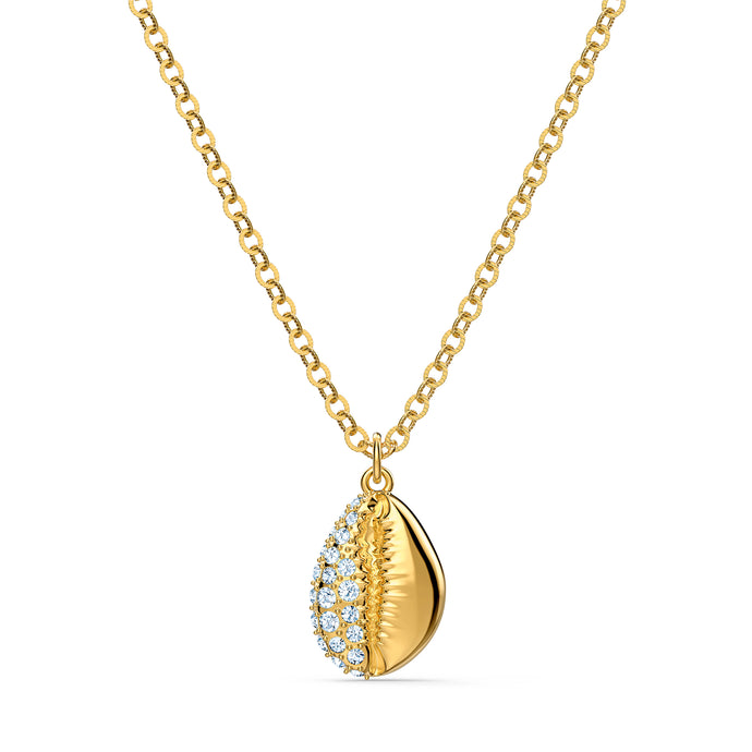 Shell Pave Pendant, White, Gold-tone plated