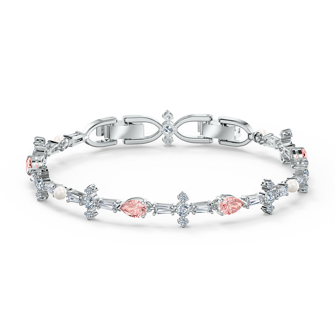 Perfection Bracelet, Pink, Rhodium plated