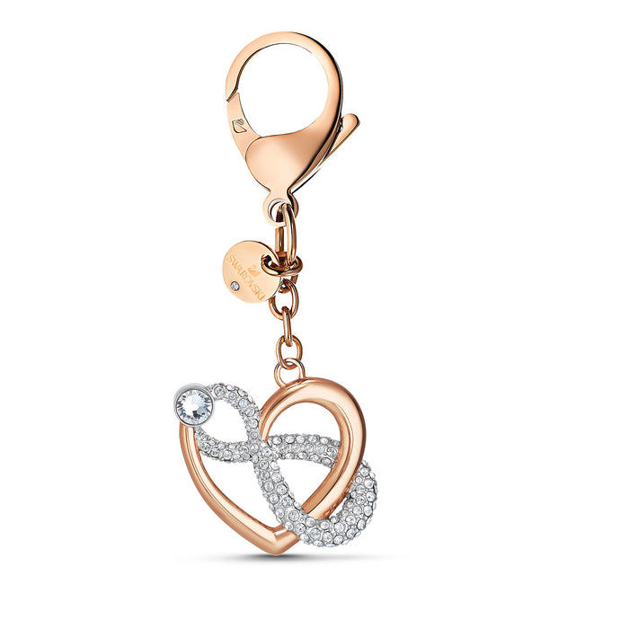 Infinite Bag charm, White, Rose-gold tone plated