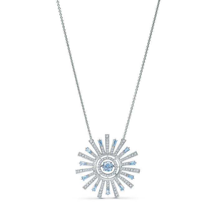 Sunshine Necklace, Blue, Rhodium plated