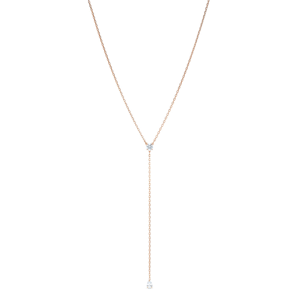 Attract Soul Y Necklace, White, Rose-gold tone plated