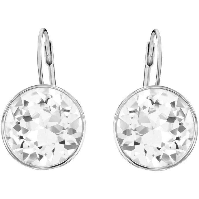 Swarovski Bella Pierced Earrings, White, Rhodium Plated