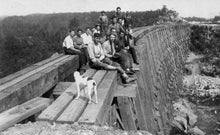 Men build the Canadian Northern Railway at Chaffey's Locks.