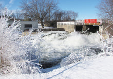 Washburn Locks spillway in the winter.