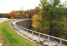 Curved stone dam at Jones Falls, once the worlds largest.