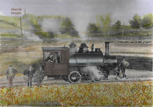 This steam engine was used to shunt raw materials around the Portland cement works from 1891 to 1900.  Strathcona is to the left,  That steeple remains there today.