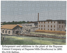 This photo is the cement factory at Strathcona which made natural cement from only limestone.  It used scrap slab wood from the Rathbun's saw mill for fuel.