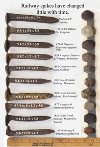 A collection of earliest railway spikes in Ontario.