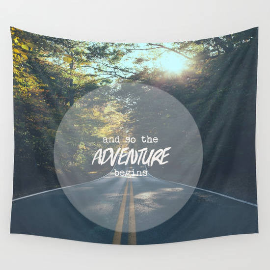 Adventure tapestry, wall tapestry, wanderlust, open road, mountains, adventure wall art, dorm decor, typography, gift for graduate,