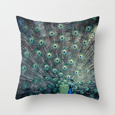 "Peacock home decor boho feathers decorative pillows apartment dorm blue green gypsy throw pillow trendy girls room - ""His Feathered Majesty"""