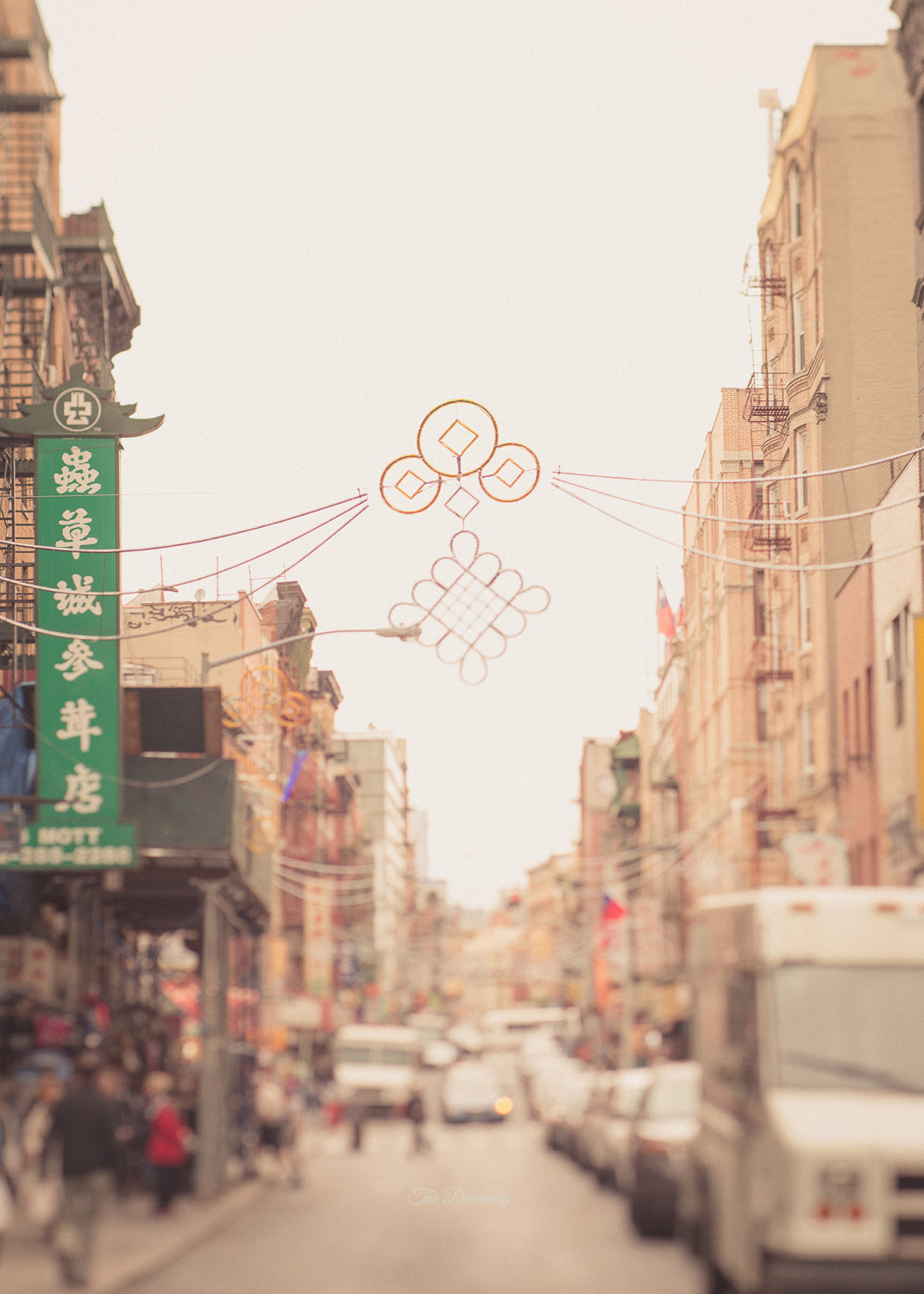 nyc photography chinatown new york city manhattan loft nyc decor bokeh urban decor large wall art neutral colors soft street scene cream