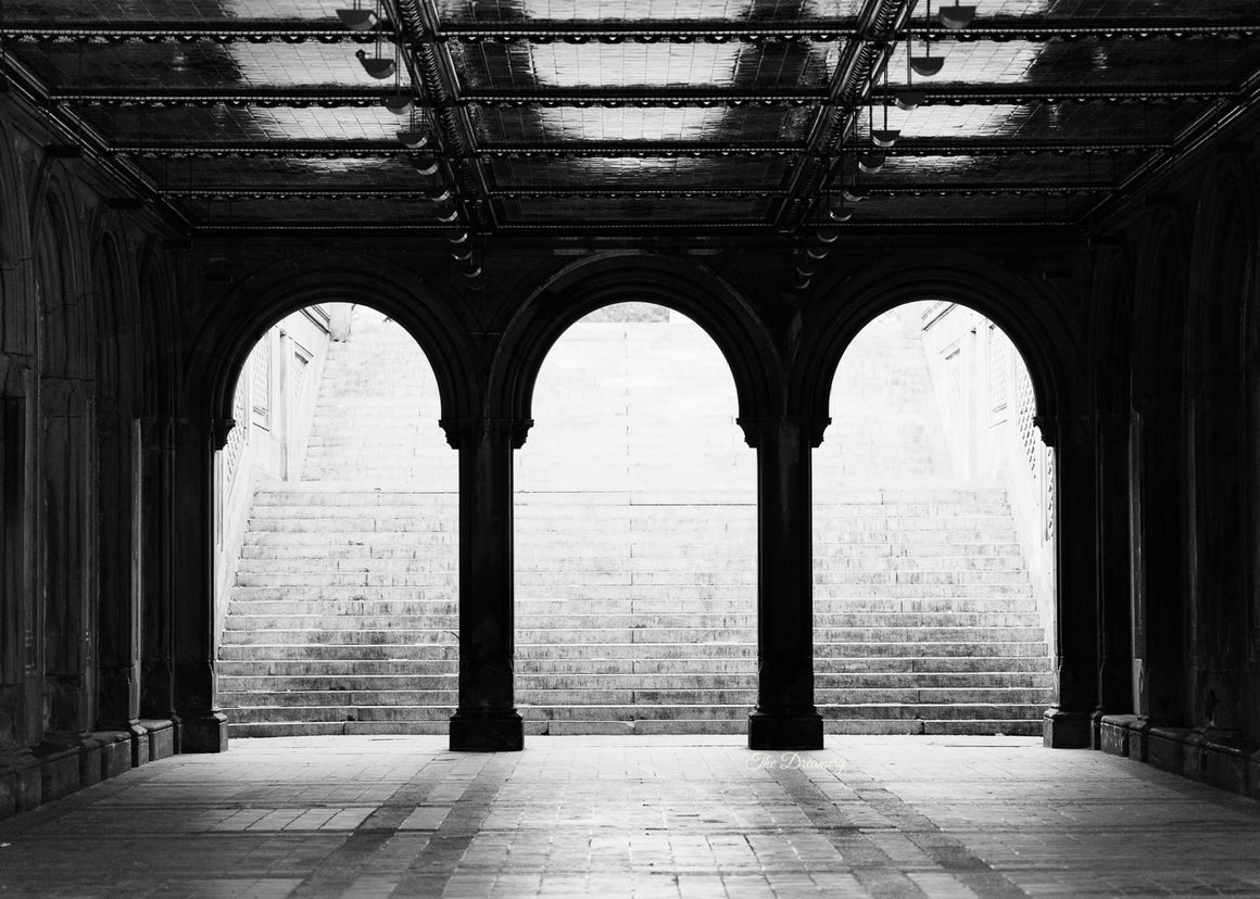 central park photography new york city decor nyc photography black and white urban decor large wall art architectural art Bethesda Terrace