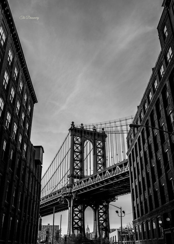 nyc photography DUMBO new york city brooklyn nyc decor black and white photography large wall art nyc architecture manhattan bridge