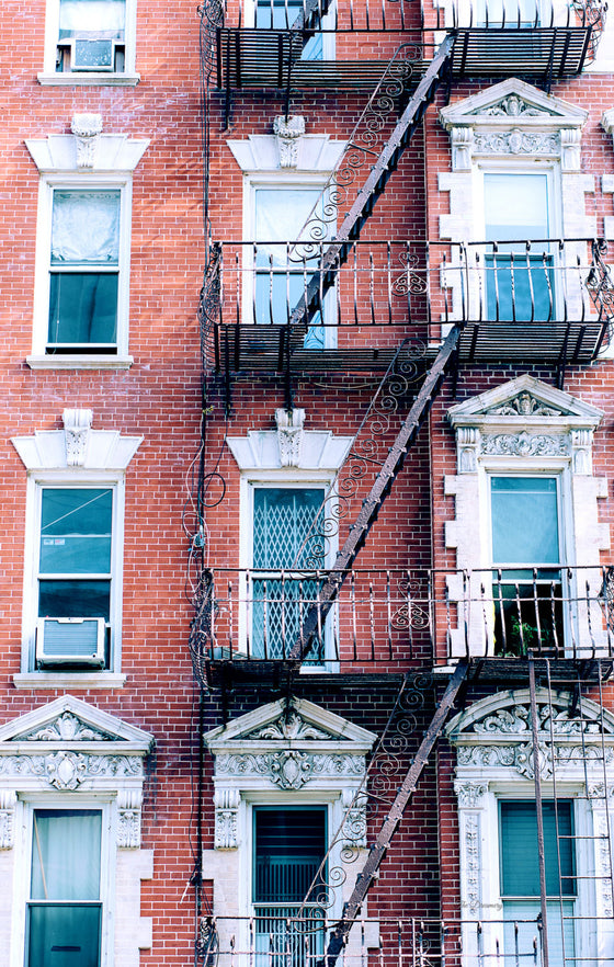 nyc photography new york city architecture loft decor nyc fire escapes brick historic buildings apartment nyc decor manhattan urban