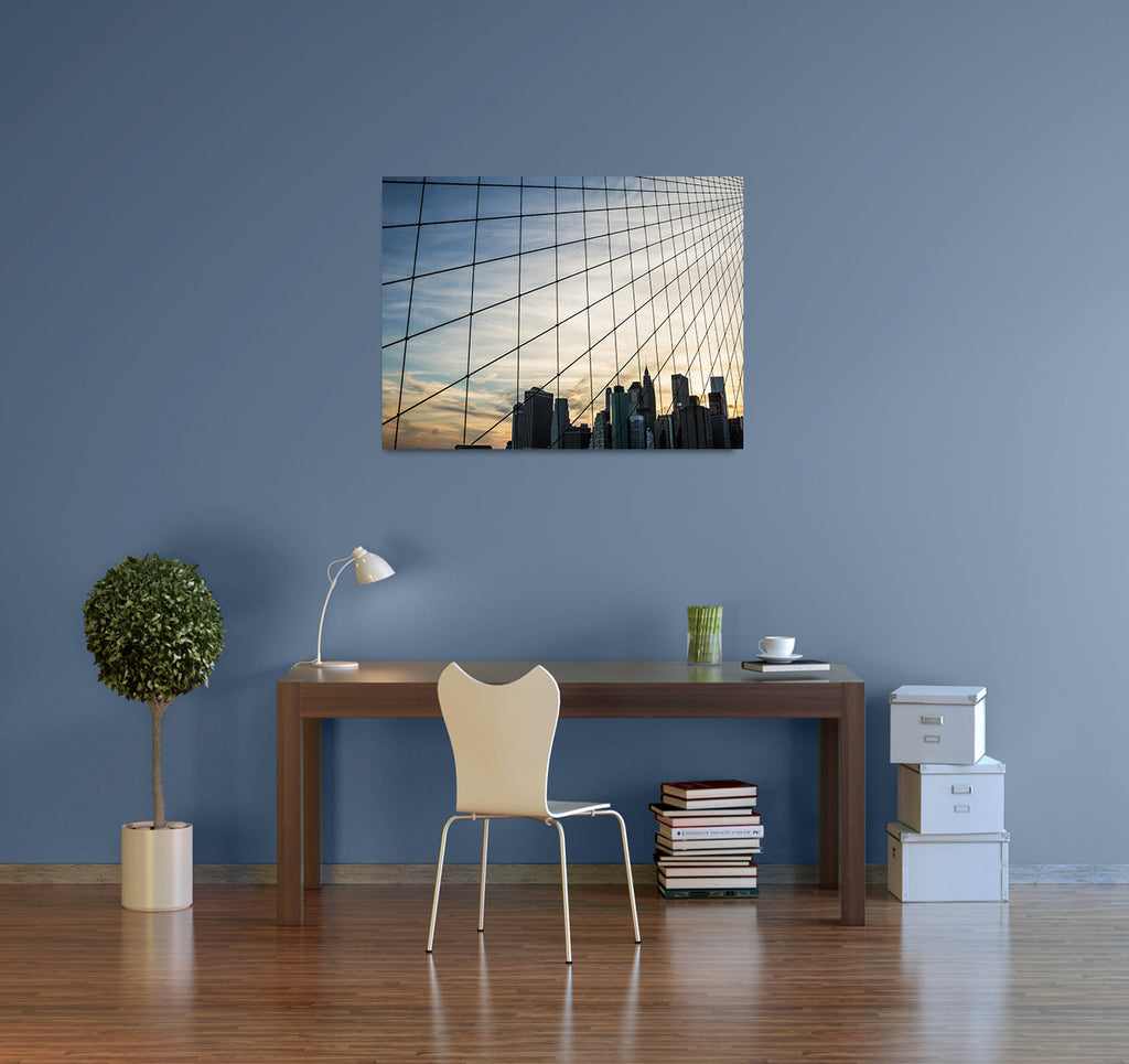 new york city photography brooklyn bridge nyc decor lower manhattan city skyline loft decor large wall art canvas gallery wrap sunset urban
