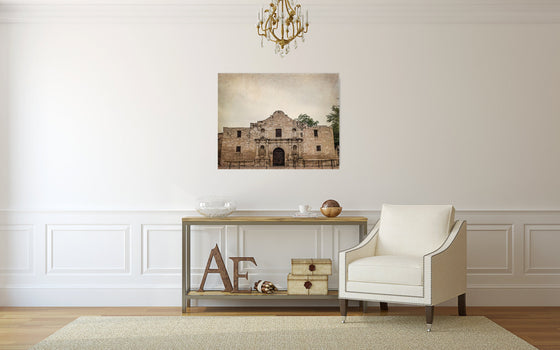 Texas photography, the alamo, rustic decor, canvas gallery wrap, texas decor, san antonio historic architecture spanish mission southwestern