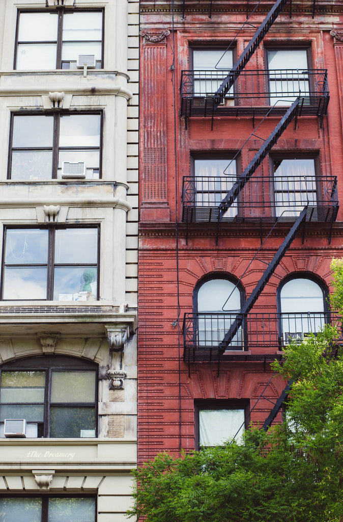 nyc photography new york city architecture loft decor nyc fire escapes brick apartment nyc decor manhattan urban red decor cream decor