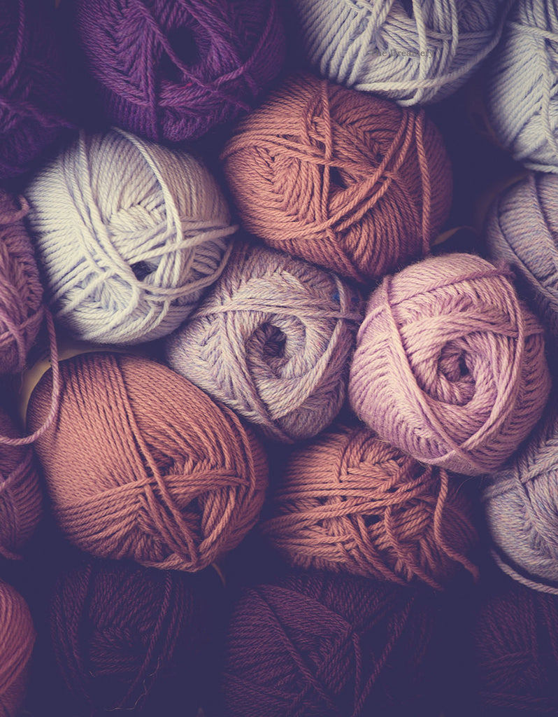 Yarn photography, art for knitters, rustic decor, rustic wall art, knitting photo, gifts for her, large wall art, purple, mauve, pink