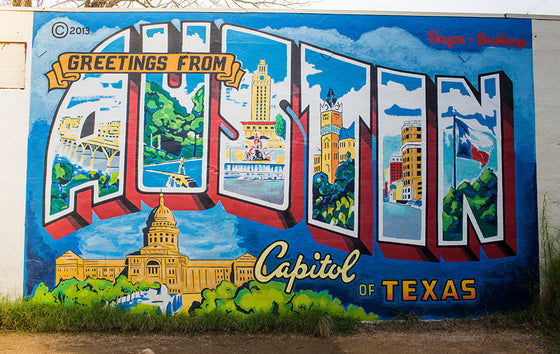 Texas photography, austin texas, texas decor, austin photography, austin art, man cave, greetings from austin, texas art, large wall art